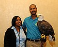 Posing for picture with Bald Eagle. (10595091545).jpg