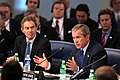 President George W. Bush and Prime Minister Tony Blair of Great Britain at Meeting of the NATO-Russia Council.jpg