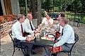 President Ronald Reagan having a luncheon meeting at Camp David.jpg