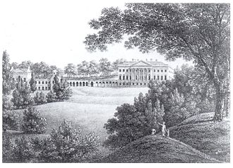 Prior Park - Drawing from 1875 by W.Wills after Thomas Hearne incorrectly showing 13 bays in the main house