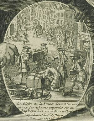 Raid on Cartagena (1697) - Illustration of Pointis' 1697 raid on Cartagena  de Indias by Pierre Landry.