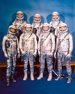 English: Project Mercury Astronauts, whose sel...