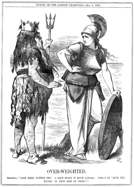 "Punch cartoon from May 1876 showing Britannia dressed in the armor of an ironclad with the word Inflexible around her collar and addressing the sea god Neptune. Note the ram sticking out of Britannia's breast plate. The caption reads: OVER-WEIGHTED. Britannia. ""Look here, Father Nep! I can't stand it much longer! Who's to 'rule the waves' in this sort of thing?"" Punch - Over-Weighted.png"