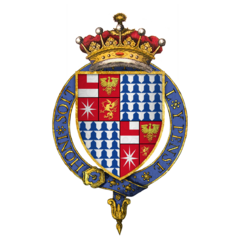 Quartered arms of Sir Anthony Woodville, 2nd Earl Rivers, KG.png