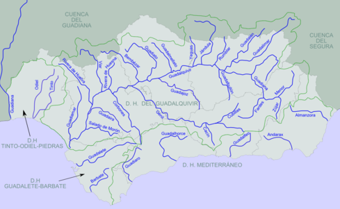 Rivers Of Andalusia. The Andarax Is Second From The Right Of The Rivers  Reaching The Mediterranean.