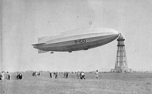 An airship moored at a mast
