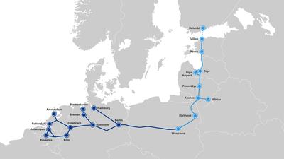 Strecke der Rail Baltica