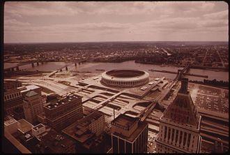 Fort Washington Way - Fort Washington Way and Riverfront Stadium in 1973