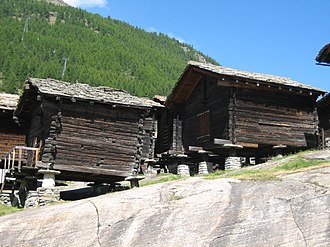 Saas-Fee - Traditional raccard granaries