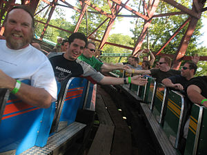 Dual-tracked roller coaster - Riders slap hands on the Racer at Kennywood