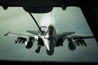 Aerial refueling - French Air Force Dassault Rafale during aerial refuelling