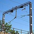 Railway overhead line electification gantry Church Road Tottenham London England 1.jpg