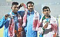 Ranjith Maheshwari of India won Gold Medal, Surendar J. of India won Silver Medal and Muhammad Afzal of Pakistan won Bronze Medal in winning men's Triple Jump final in Athletics, at 12th South Asian Games-2016, in Guwahati.jpg