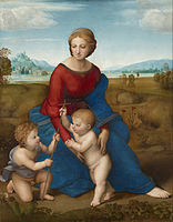 The Madonna Of The Meadow C  Using Leonardos Pyramidal Composition For Subjects Of The Holy Family
