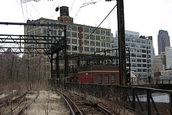 Abandoned railroad tracks of the Reading Viaduct in Callowhill