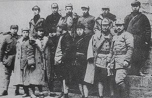 Chen Bojun - Picture of some of the military leaders after the Red Army's long march, Front row from left: Gan Siqi, He Bingyan, Guan Xiangying, Wang Zhen, Li Jingquan, Zhu Rui, He Long. Back row from left: Zhang Ziyi, Liu Yaqiu, Liao Hansheng, Zhu Ming, Chen Bojun, Lu Dongsheng