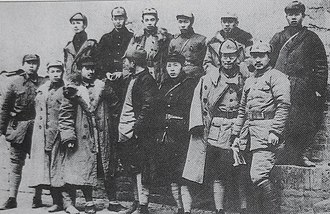 Chen Bojun - Picture of some of the military leaders after the Red Army's long march, Front row from left: Gan Siqi, He Bingyan, Guan Xiangying, Wang Zhen, Li Jingquan, Zhu Rui, He Long. Back row from left: Zhang Ziyi, Liu Yaqiu, Liao Hansheng, Zhu Ming, Chen Bojun, Lu Dongsheng