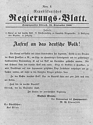 """Struve Putsch - Republican government sheet No. 1 in the name of the """"provisional government"""" of Gustav Struve"""