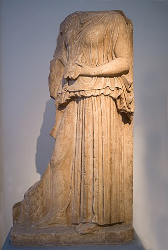 Diotima of Mantinea - Relief of a woman holding a liver for hepatoscopy, probably a depiction of Diotima of Mantineia.