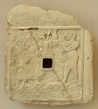 Vegetation deity - Relief of libation to a vegetation goddess (ca. 2500 BC) found in ancient Girsu, at the Louvre.