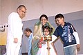 Renuka Chowdhury lighting the lamp to inaugurate the 7th International Children Film Festival, with the help of two children at Nandan in Kolkata on May 14, 2007.jpg