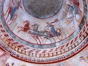 Kazanlak - Fresco in the 4th century BCE Thracian Tomb of Kazanlak, an UNESCO World Heritage Site.