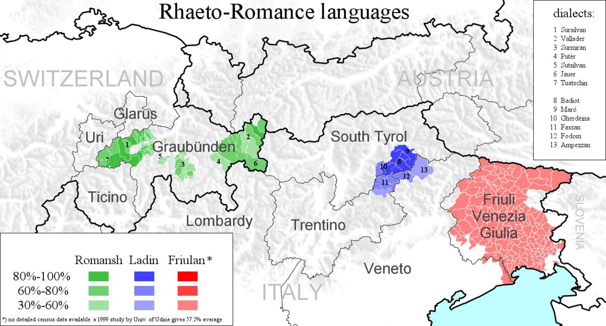 RhaetoRomance Languages Wikipedia - Languages map of switzerland
