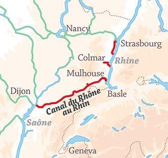 Rhone–Rhine Canal - Image: Rhone Rhine Canal location