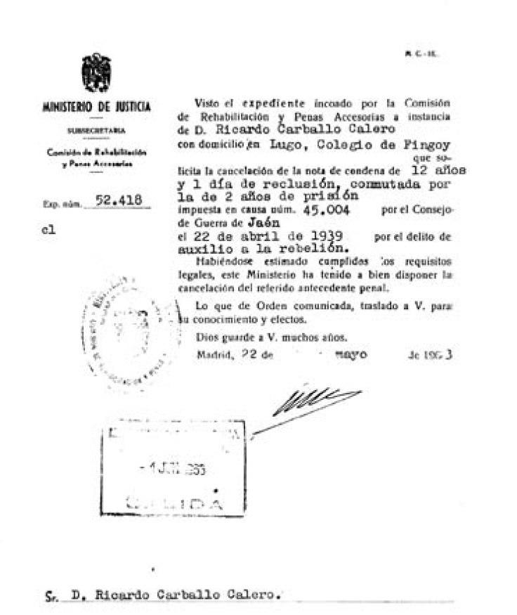 Ricardo Carballo Calero, cancelación de antecedentes penales 22-5-1963