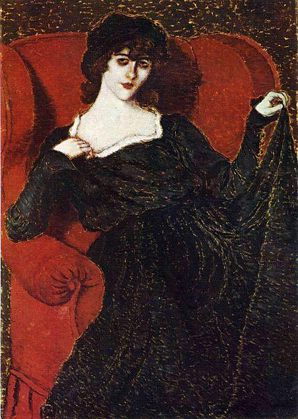 """> Portrait vénéneux """"Elza Bányai en robe noire"""" de József Rippl-Rónai."""