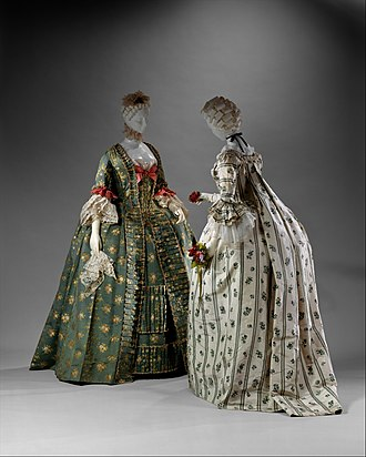 Sack-back gown - Two robes à la Française, front and back views, 1750-75 (MET)