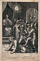 Roman soldiers beat Christ before the high priest. Line engr Wellcome V0034768.jpg