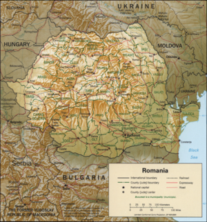 Outline of Romania - An enlargeable relief map of Romania