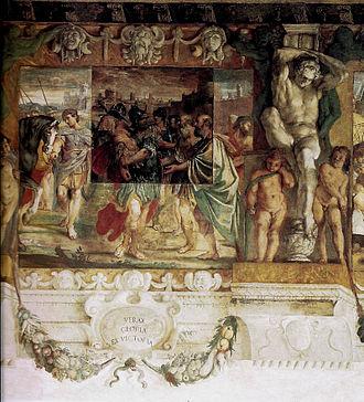 Romulus - Image: Romolo dedica a Giove Feretrio le spoglie del re Acrone