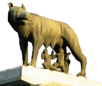 Rómulo y Remo, bajo la Loba Capitolina