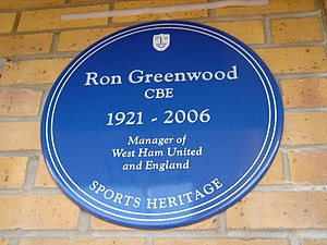 Ron Greenwood - Sports Heritage Blue Plaque for Ron Greenwood outside West Ham's Boleyn Ground