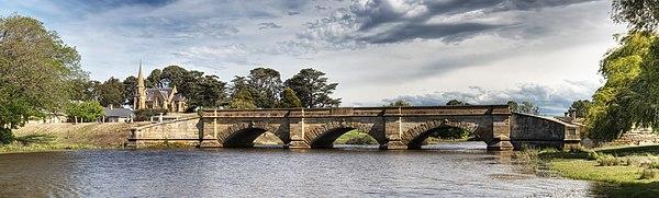 Ross Bridge with the Uniting Church behind, Tasmania, Australia