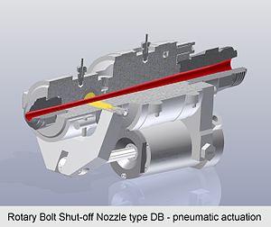Shut-off nozzle - Rotary Bolt Shut-off Nozzle type DB - pneumatic actuation