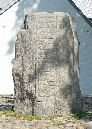 Gorm the Old - Runic stone for Thyra, front side