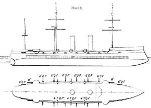 Russian cruiser Rurik (1892) - Simplified diagrams of the ship, as depicted in Brassey's Naval Annual 1902