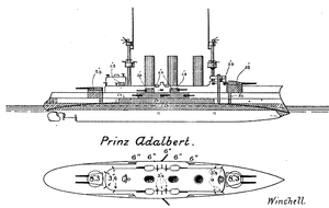 Prinz Adalbert-class cruiser - Line-drawing of Prinz Adalbert; the shaded areas represent the portions of the ship protected by armor