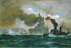 SMS Zähringen - Painting of Zähringen on maneuvers by Fritz Stoltenberg
