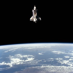 STS-7 - Challenger as photographed by the SPAS-1 satellite on June 22, 1983