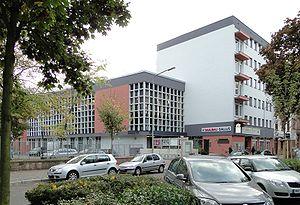 Frankfurt Auschwitz trials - Buergerhaus at Frankenalle in Frankfurt am Main-Gallus. Courthouse for the first Frankfurt Auschwitz Trial in 1963-65, 2009 photo