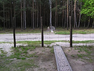 "Stalag Luft III - End of ""Harry"" tunnel showing how close the exit was to the camp fence"