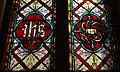 Saint Francis Catholic Church (Columbus, Ohio) - stained glass, Holy Monogram & relics of the Crucifixion.jpg