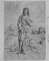 Saint John the Baptist standing in landscape, figures and buildings in the backgroud MET MM8257.jpg