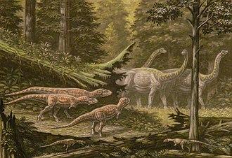 Saltasaurus - Saltasaurus herd passes Quilmesaurus and Noasaurus