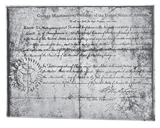 Samuel Howell - President George Washington's Commission appointing Samuel Howell a Commissioner of the Bank of the United States dated March 19, 1791