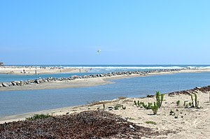Santa Ana River - The channeled mouth of the Santa Ana River between Huntington Beach and Newport Beach